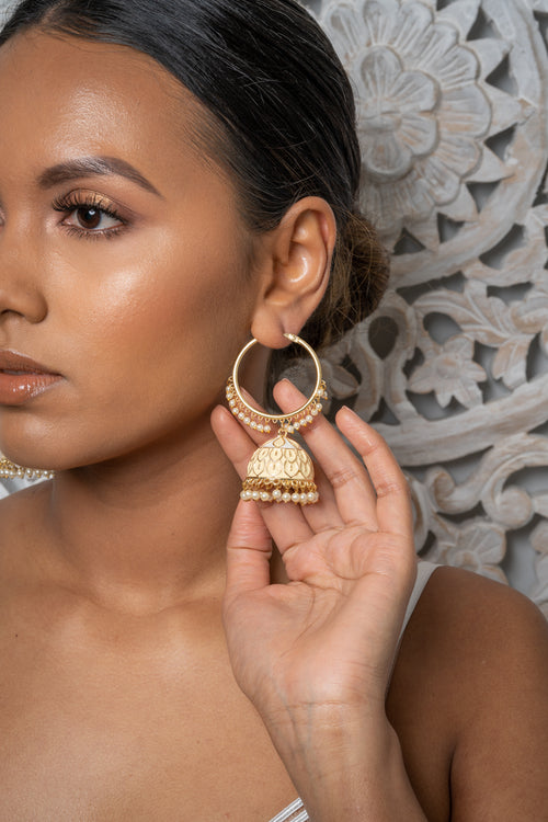 Creme Meenakari Hoop Jhumka Earrings