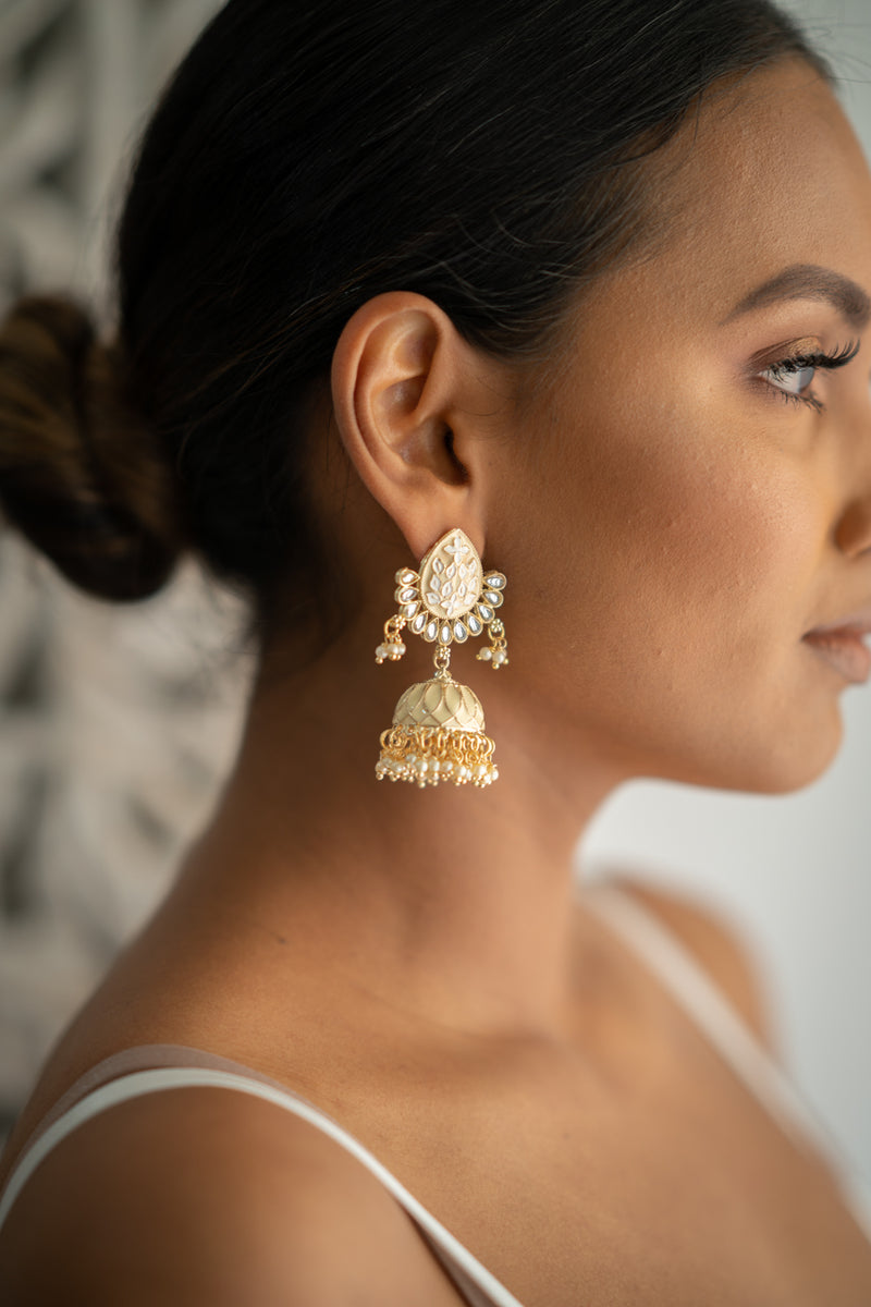 White Meenakari Jhumka Earrings