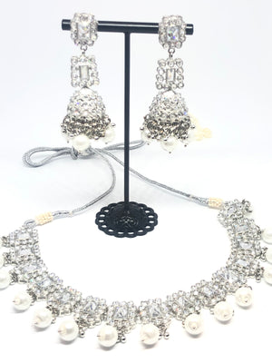 || NAINA || Silver Round White Pearl Necklace with Earrings