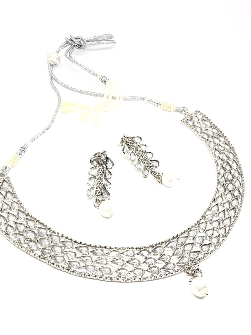|| AASHA || Silver Necklace & Earrings Set with White Pearls