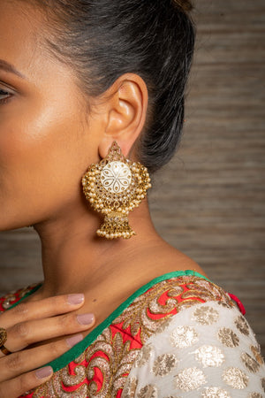 White Meenakari Earrings with Jhumkis