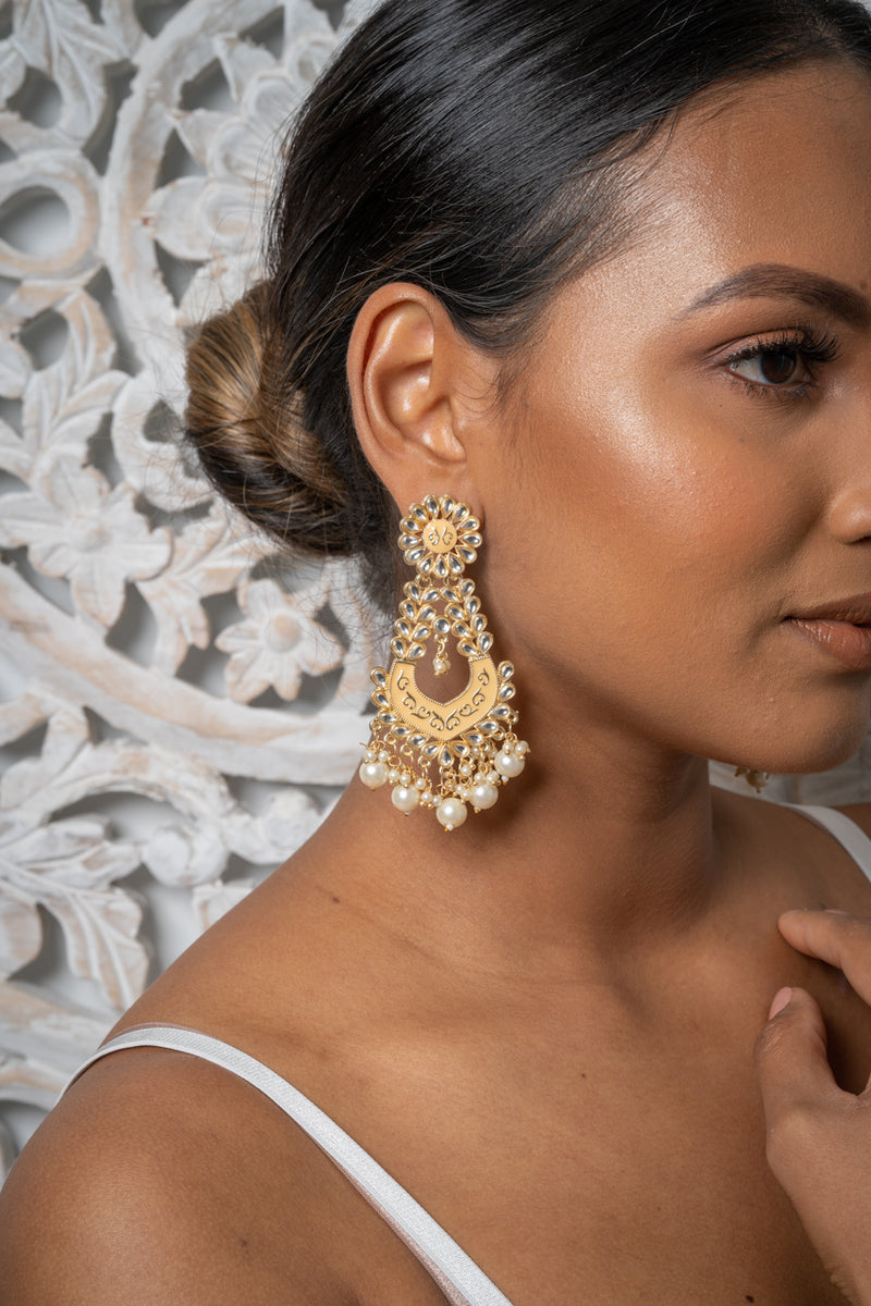 Mustard Meenakari Dangling Pearl Earrings
