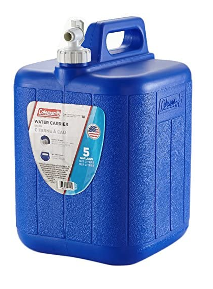 Water jug for drinking and washing dishes while at a campground