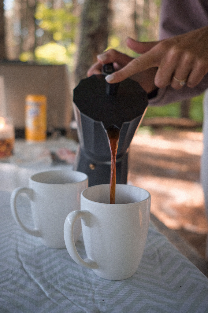Stove-top espresso maker to use camping