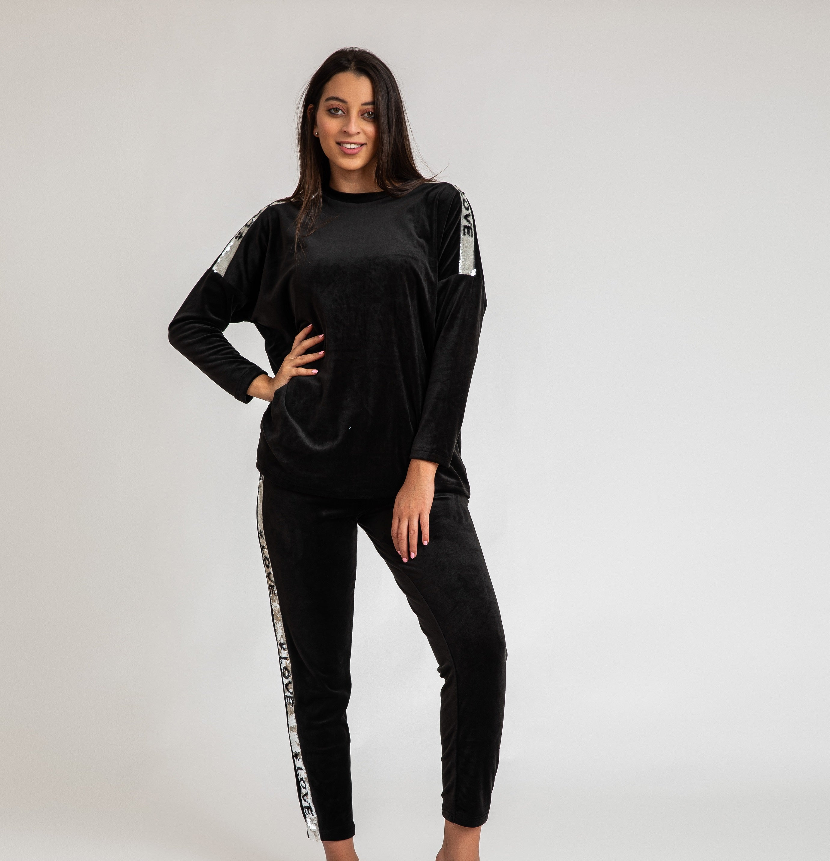 Long Sleeve with Love Sequin on Sleeve and Pants Loungset