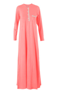 Super soft longsleeve nightgown with cotton lace trim