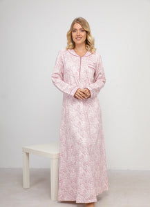 Classic Winter Nightgown with Paisly Print