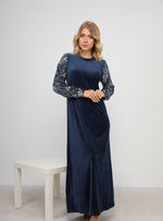 Load image into Gallery viewer, Classic Velvet Homedress with Leaf Print Sleeves