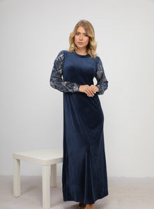 Classic Velvet Homedress with Leaf Print Sleeves