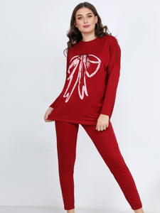 Long Sleeve Bow Printed Pajama