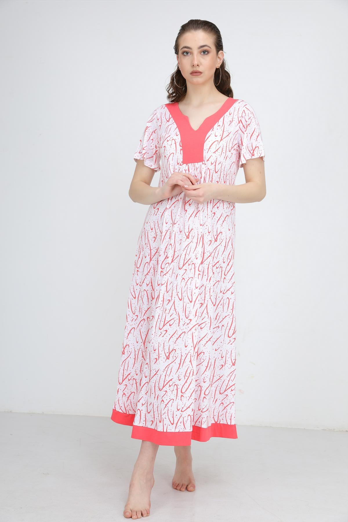 Short Sleeve V kneck Scribble Printed Homedress
