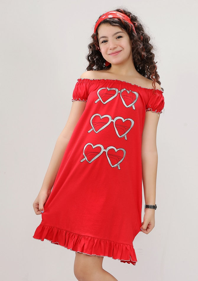 Spanish Sleeve Heart Glasses Nightie