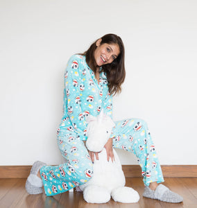 Velvet Button Down PJ with Fun Panda Print