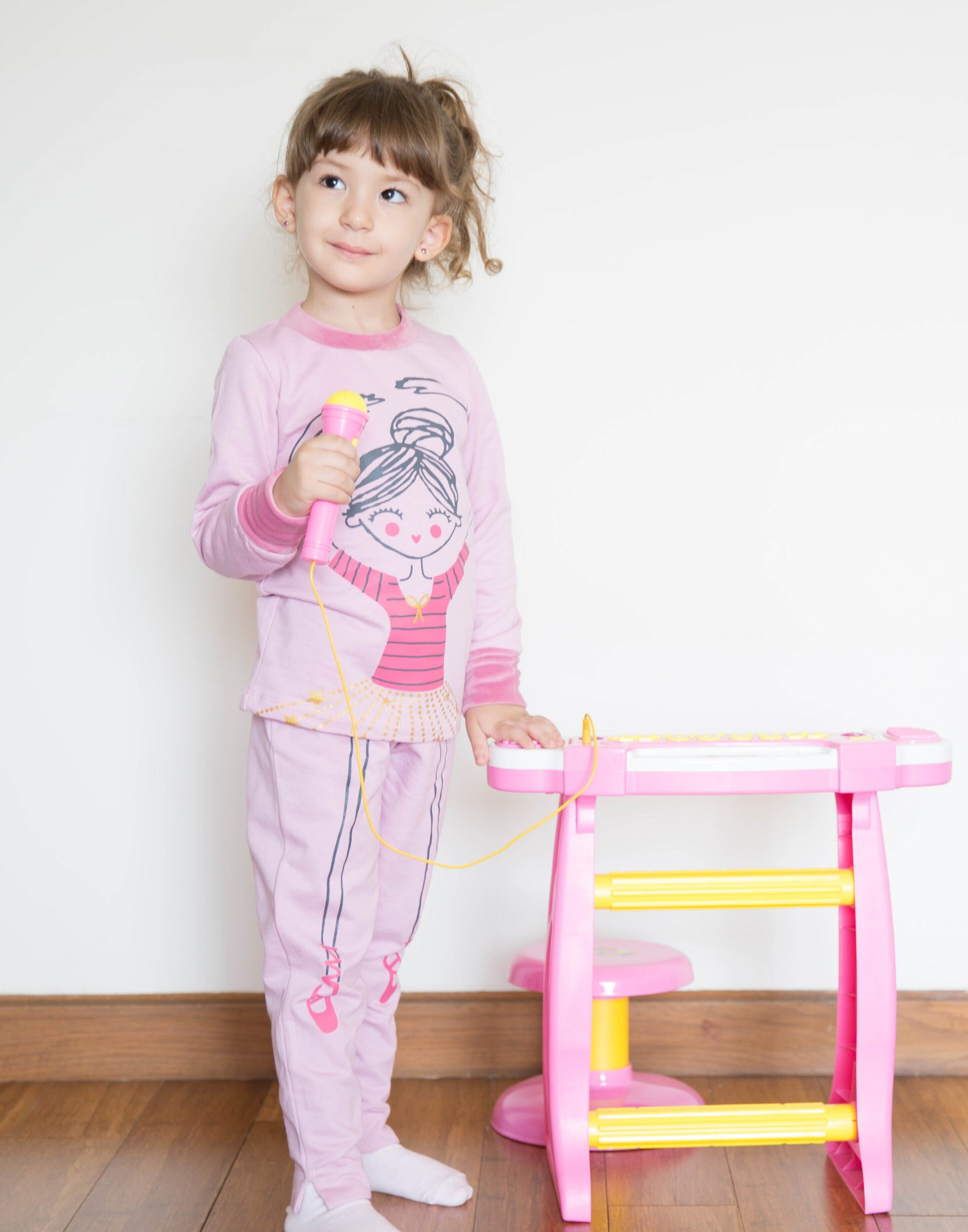 Girls Cute Ballerina Print PJ