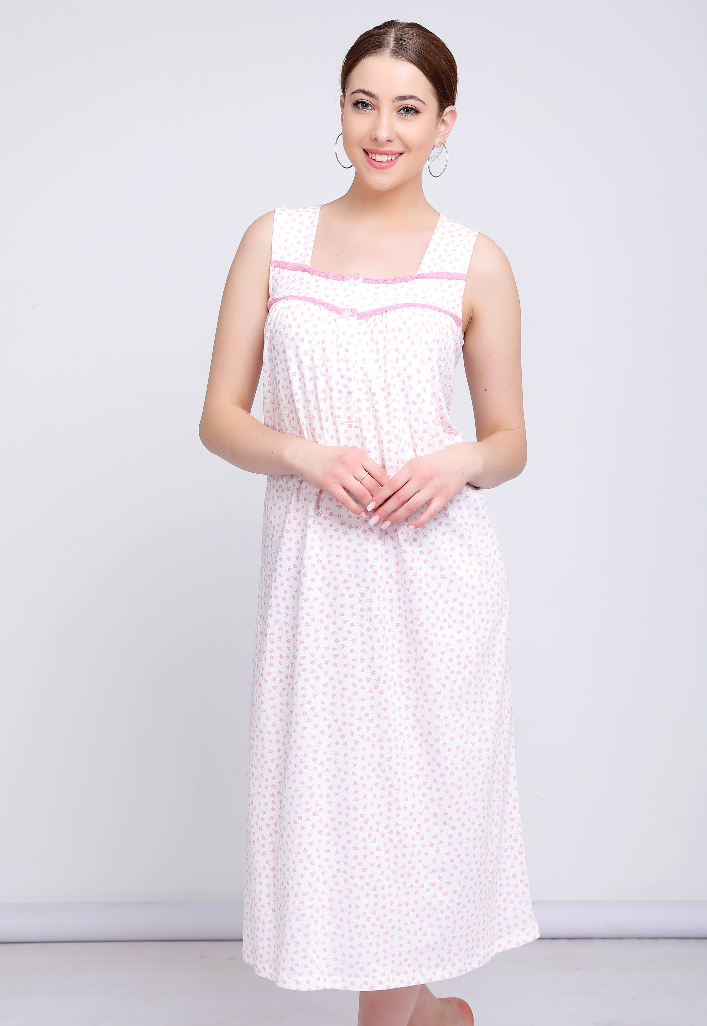 Cut Sleeve Printed Nightdress