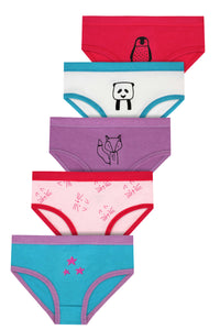 Girls Multipack Covered Elastic Briefs 100% Cotton