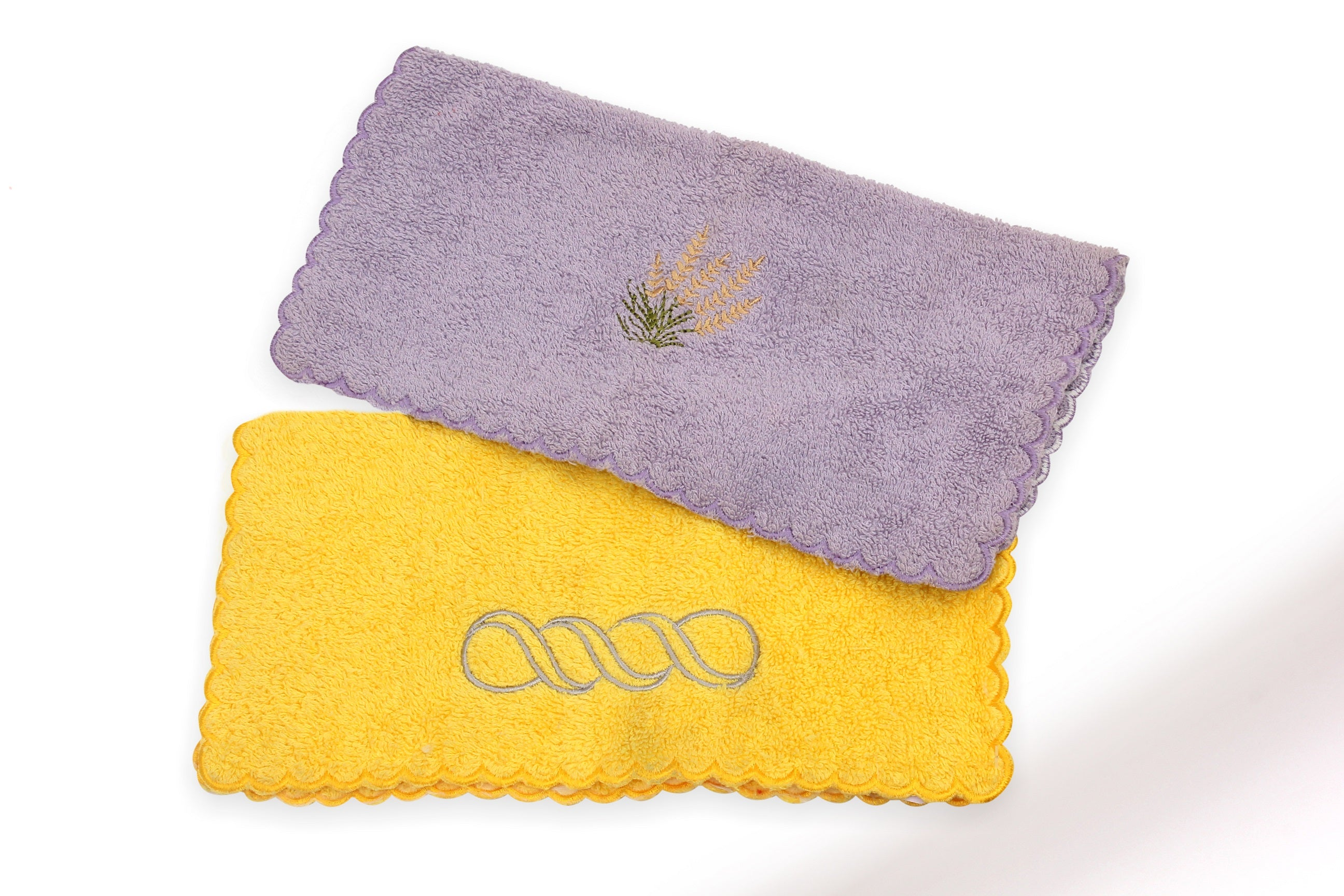 Embroidered Towel with scalloped border