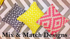 Outdoor yellow, pink and black cushions / pillows from Green Decore