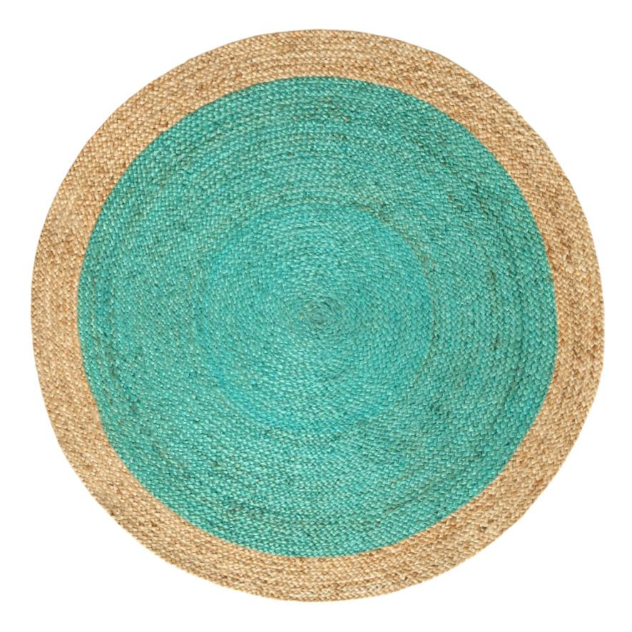 Oculus Handmade Round Jute Rug , Natural And Turquoise , 6ft Diameter