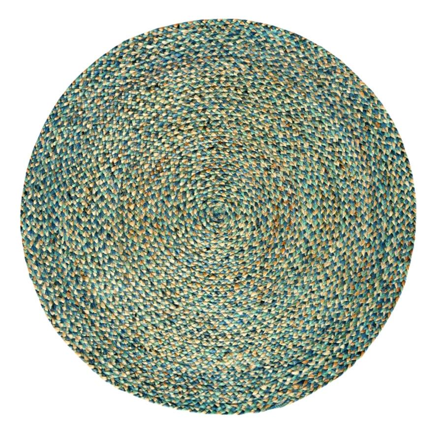 spectrum handmade round jute rug , natural and turquoise , 5ft