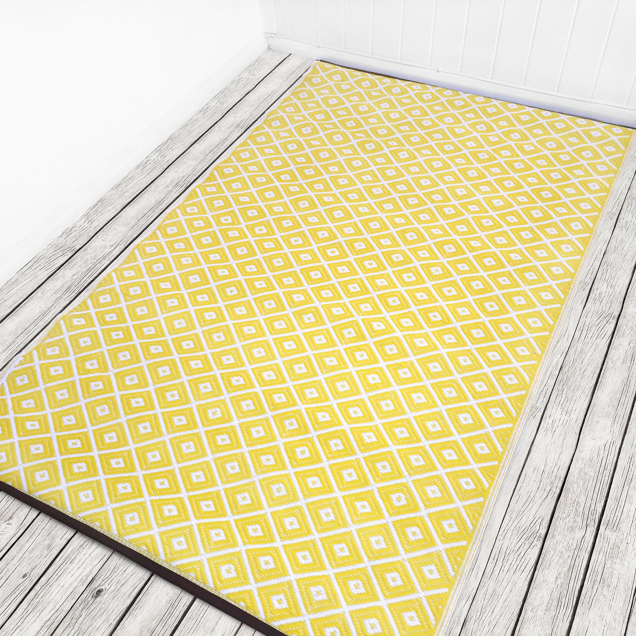 Recycled Plastic Outdoor Rugs Uk: Yellow And White Indoor Outdoor Rug UK