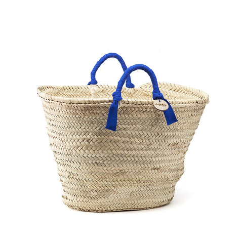 woven basket blue handles - medium