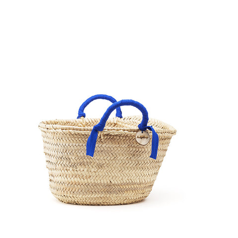 woven basket blue handles - small