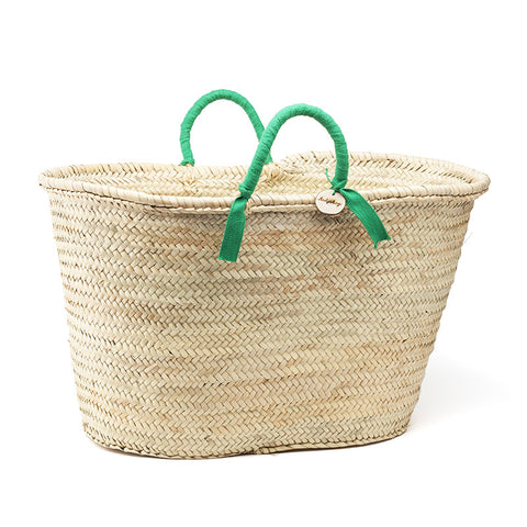 woven basket green handles - large