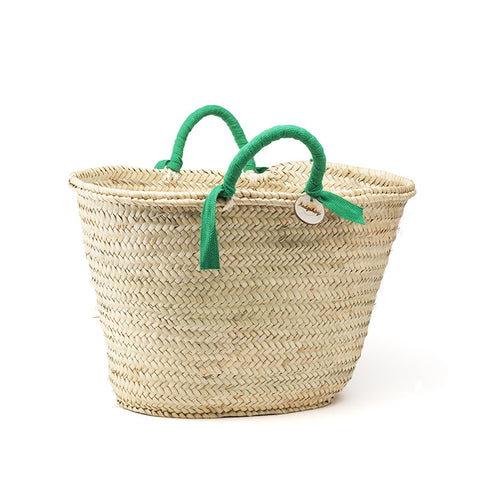 woven basket green handles - medium