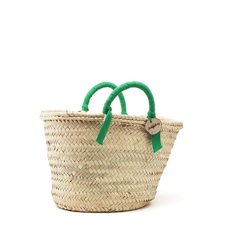 woven basket green handles - small