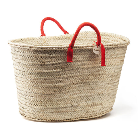 woven basket red handles - large