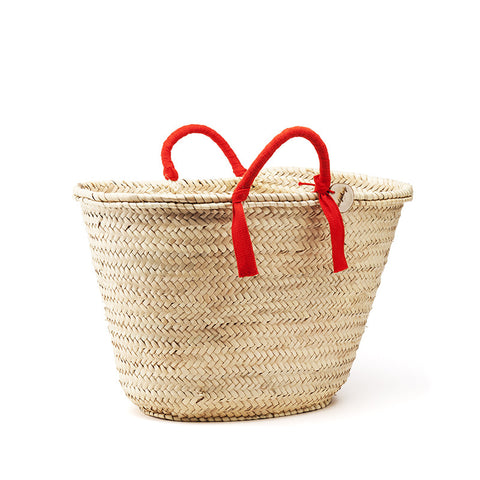 woven basket red handles - medium