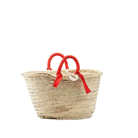 woven basket red handles - small