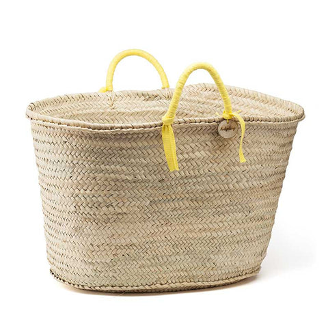 woven basket yellow handles - large