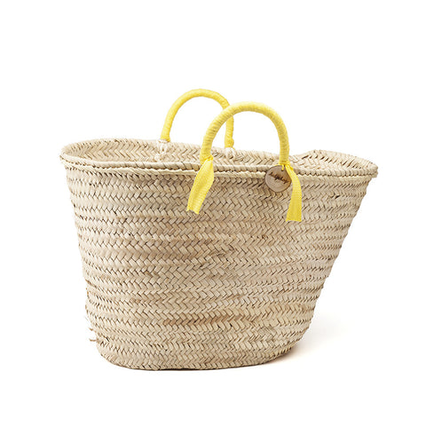 woven basket yellow handles - medium