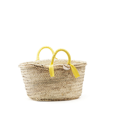 woven basket yellow handles - small