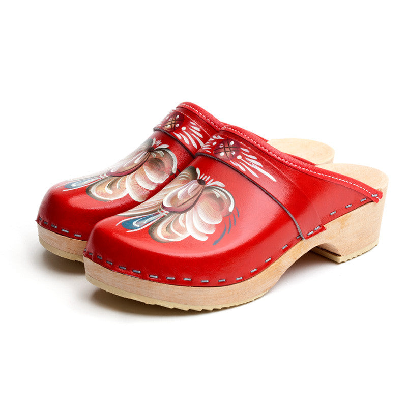 Swedish Hand Painted Wooden Clogs Red