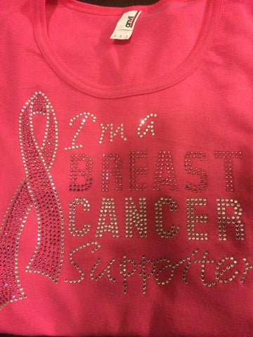 Breast Cancer Support Rhinestone T-shirt