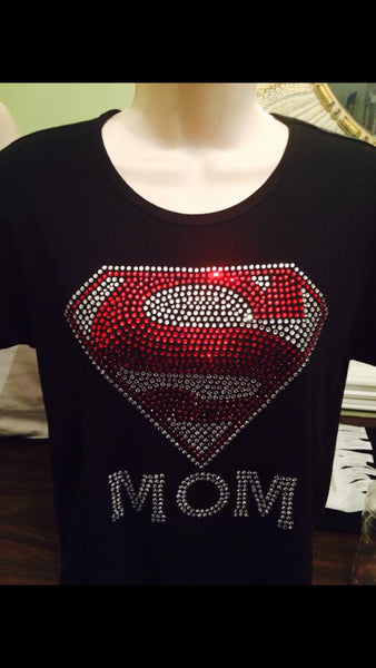 Super Mom Rhinestone Tshirt