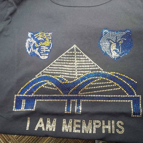 I AM Memphis Rhinestone Tshirt Design  Featuring the Tiger & The Grizzley