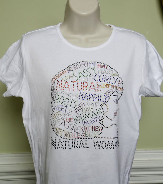 Natural Hair Rhinestone T-Shirt