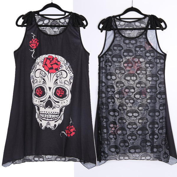 Sleeveless Gothic Skull Shirt - My Goth Closet