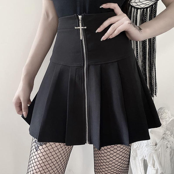 Cross Zipper Goth Skirt - My Goth Closet