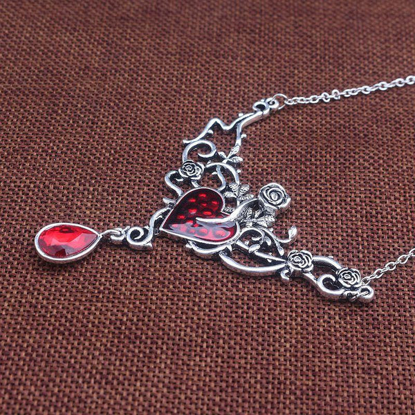 Flower Red Blood Heart Choker - Let's Be Gothic, nightwear, clothing, punk, dark