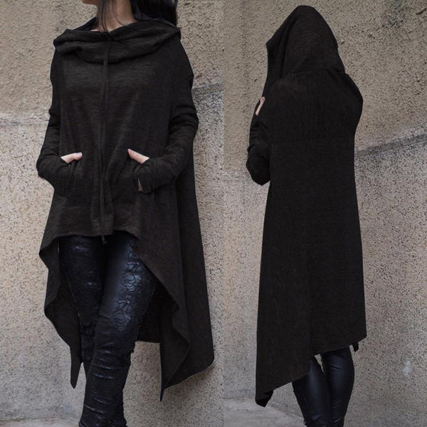 Solid Long Sleeve Hoodie - My Goth Closet