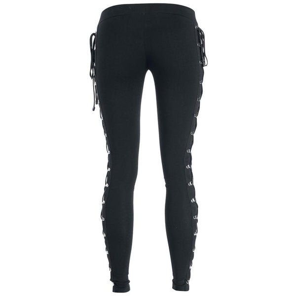 Slim Side Cross Lace Up Leggings - My Goth Closet