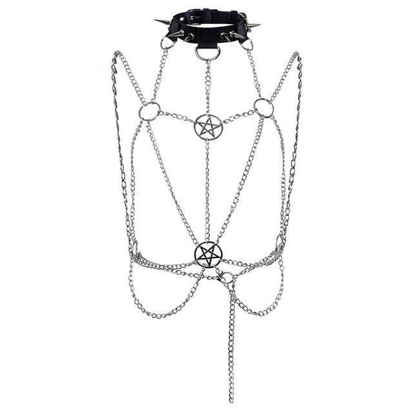 Gothic Pentagram Chain Belt Harness - My Goth Closet