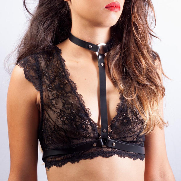 Lingerie Leather Harness - My Goth Closet