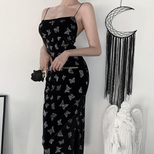 Long Elegant Butterfly Dress - My Goth Closet