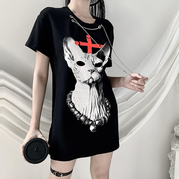 Dark Cat Chain T Shirt - Let's Be Gothic, nightwear, clothing, punk, dark